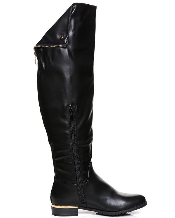 Flat Over The Knee Black Boots-Jezzelle