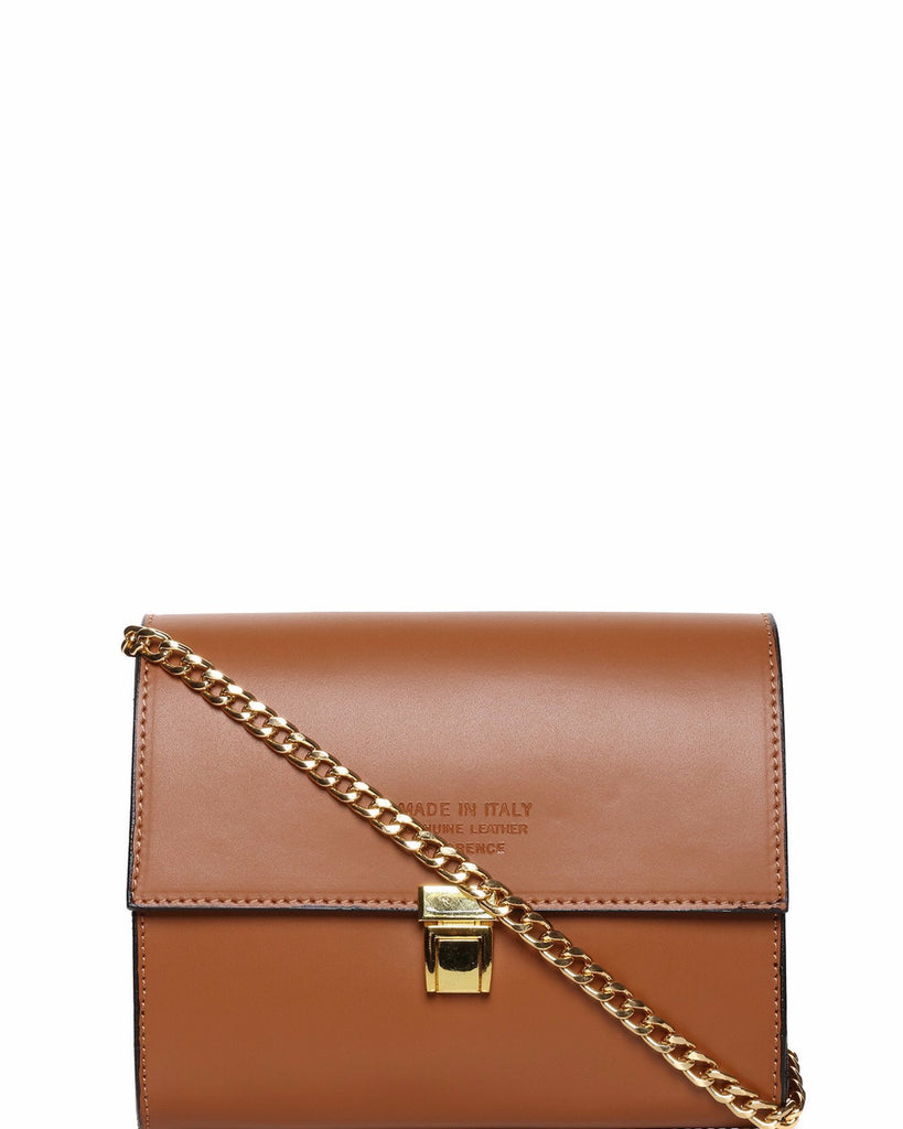 Chain Strap Brown Leather Shoulder Bag-Jezzelle