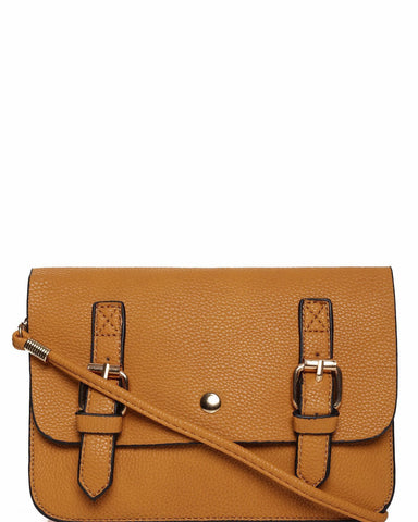 Double Buckle Faux Leather Crossbody Bag - Jezzelle