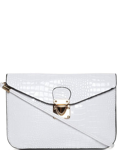 Mock Croc White Envelope Clutch-Jezzelle