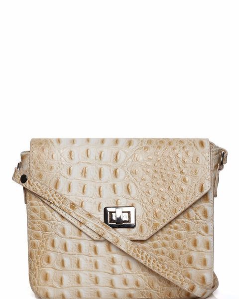Genuine Leather Beige Crossbody Bag - Jezzelle