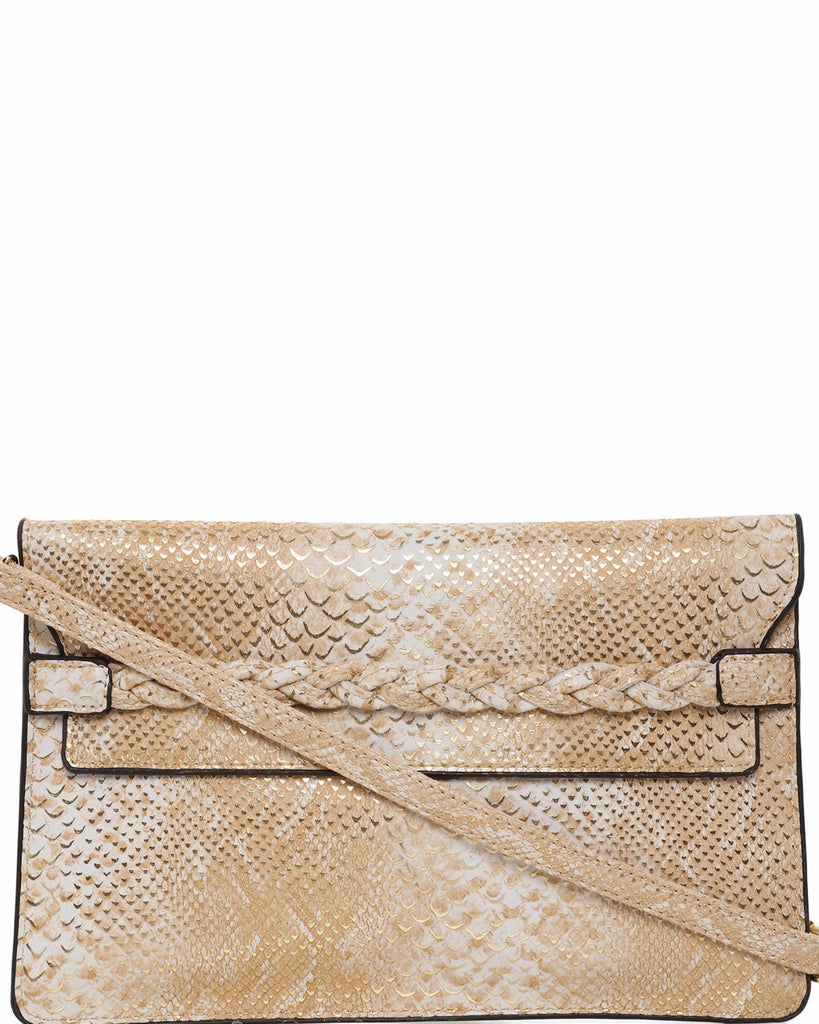 Faux Snake Guilded Clutch-Jezzelle