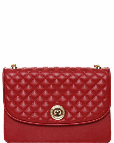 Quilted Design Red Shoulder Bag - Jezzelle