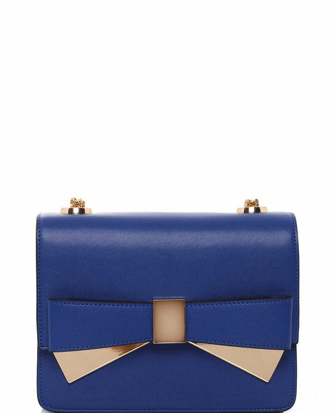 Metal Bow Blue Shoulder Bag - Jezzelle
