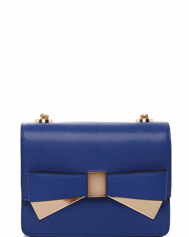 Metal Bow Blue Shoulder Bag - jezzelle  - 1