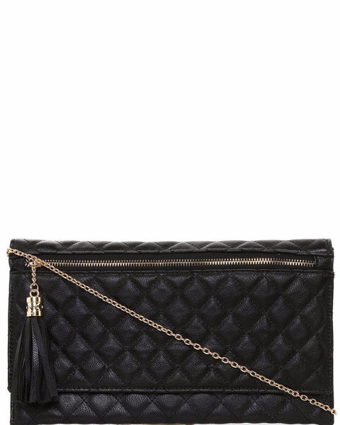 Zip Detail Quilted Clutch-Jezzelle