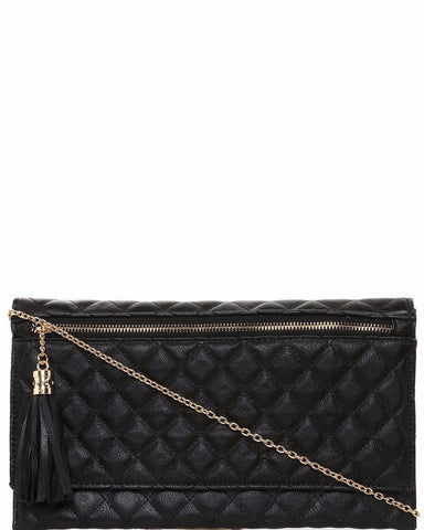 Zip Detail Quilted Clutch - Jezzelle