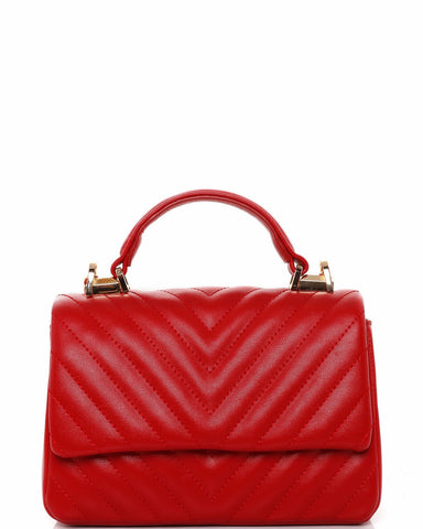 Small Red Quilted Shoulder Bag - Jezzelle