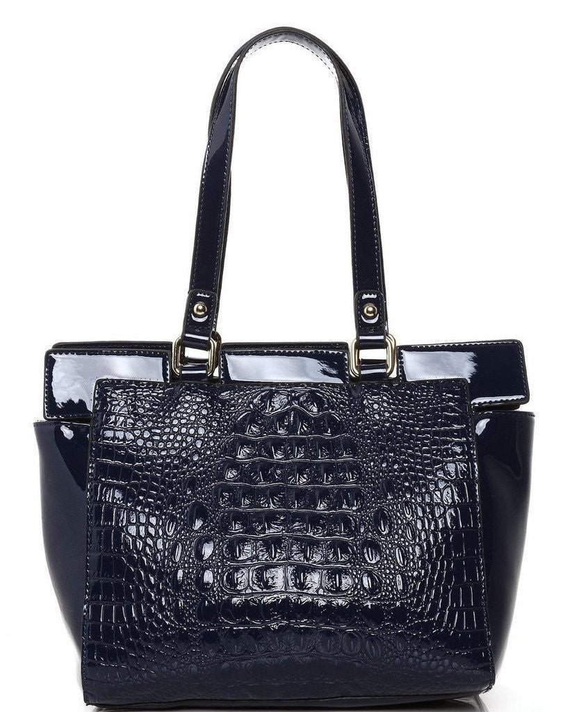 Mock Croc Blue Bucket Tote Bag-Jezzelle
