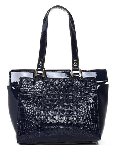 Mock Croc Blue Bucket Tote Bag - Jezzelle
