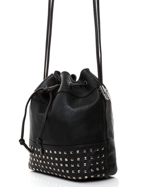 Drawstring Studded Shopper Bag - Jezzelle