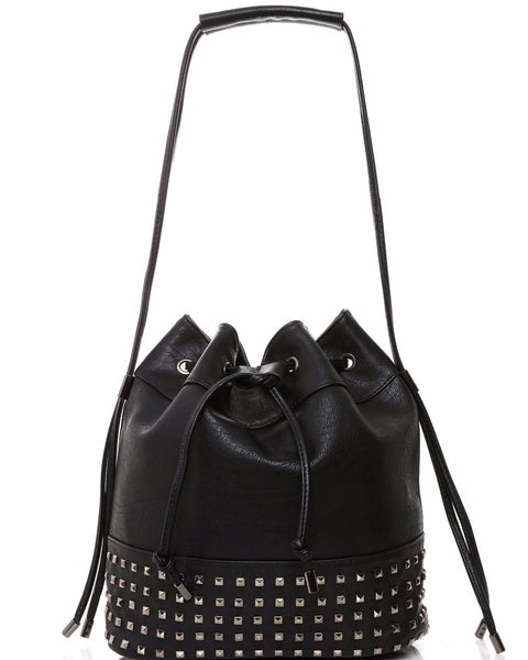 Drawstring Studded Shopper Bag-Jezzelle