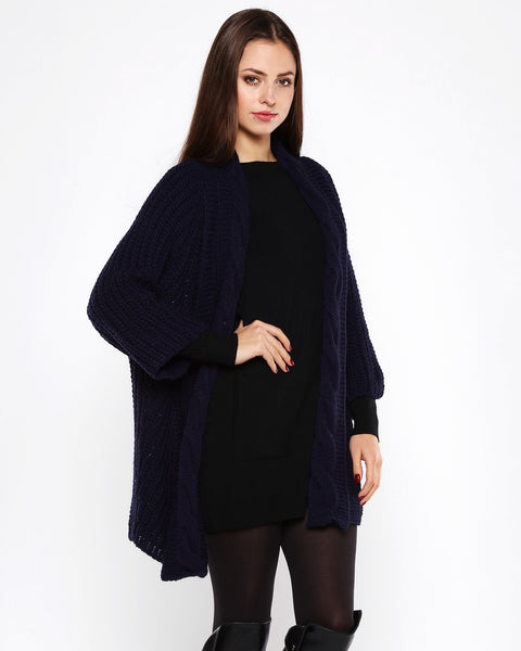 Cable Knit Navy Open Front Cardigan - Jezzelle
