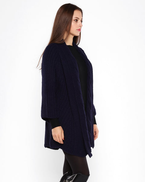 Cable Knit Navy Open Front Cardigan-Jezzelle