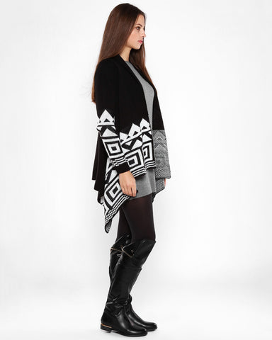 Aztec Print Black Waterfall Cardigan-Jezzelle