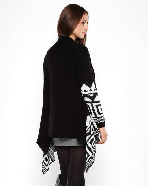Aztec Print Black Waterfall Cardigan - Jezzelle