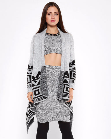 Aztec Print Light Grey Cardigan-Jezzelle