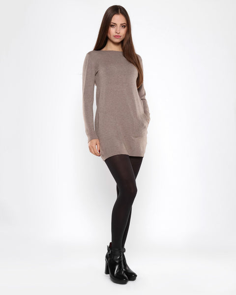 Boat Neck Taupe Knitted Jumper Dress - Jezzelle