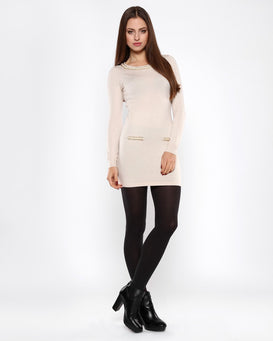 Chain Detail Beige Knitted Jumper Dress - Jezzelle