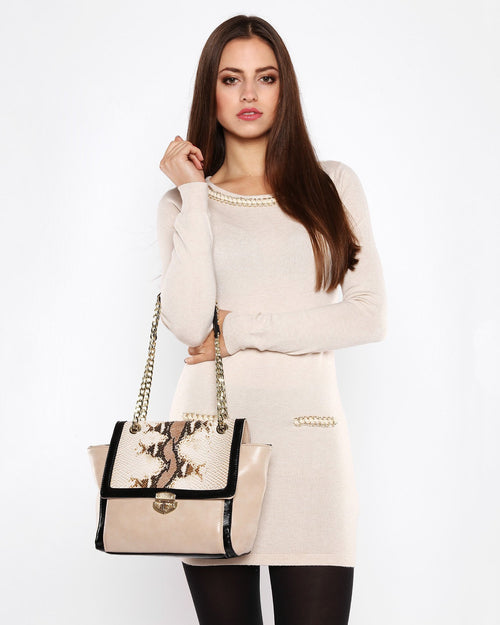 Chain Detail Beige Knitted Jumper Dress-Jezzelle