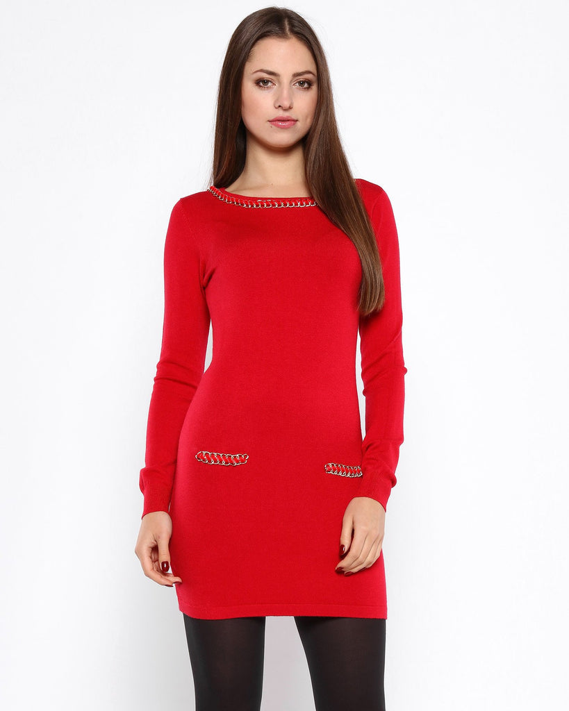 Chain Detail Red Knitted Jumper Dress-Jezzelle