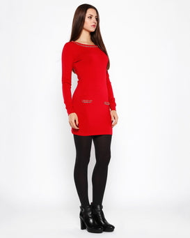 Chain Detail Red Knitted Jumper Dress - Jezzelle