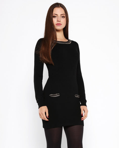 Chain Detail Black Knitted Jumper Dress - Jezzelle