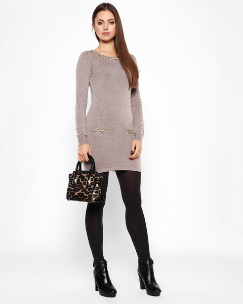 Chain Detail Taupe Knitted Jumper Dress-Jezzelle