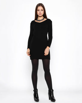 Black Mohair Knitted Jumper Dress - Jezzelle