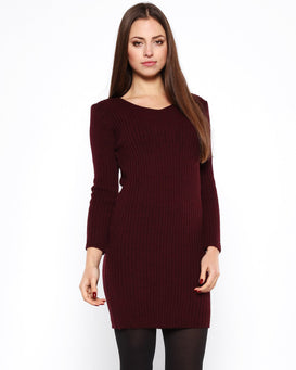 Burgundy Mohair Knitted Jumper Dress-Jezzelle