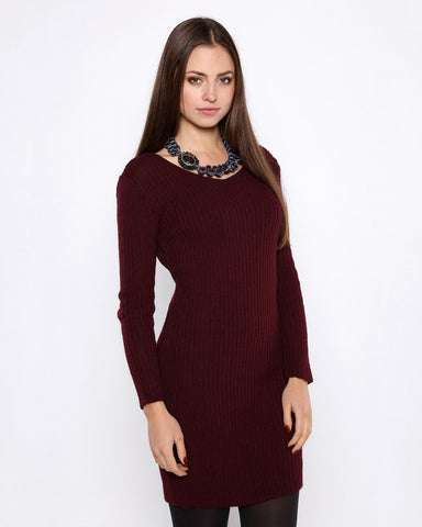 Burgundy Mohair Knitted Jumper Dress - Jezzelle