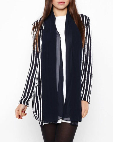 Nautical Striped Navy Blazer - Jezzelle