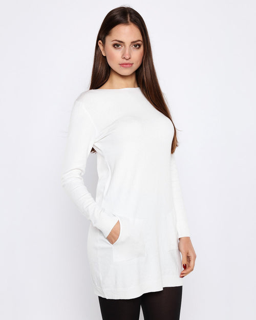 Boat Neck Cream Knitted Jumper Dress-Jezzelle