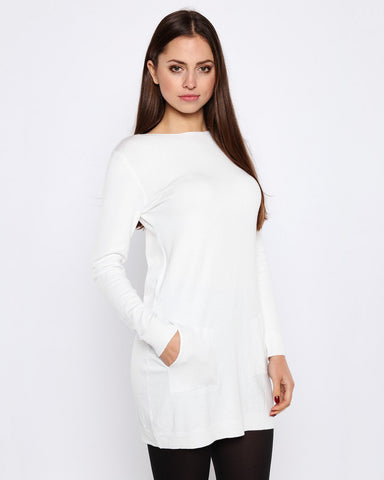 Boat Neck Cream Knitted Jumper Dress - Jezzelle