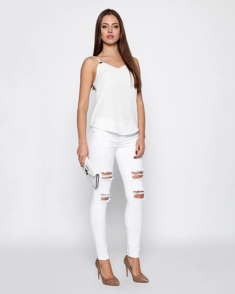 White Ripped Skinny Jeans - jezzelle  - 4