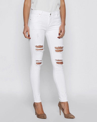 White Ripped Skinny Jeans - Jezzelle
