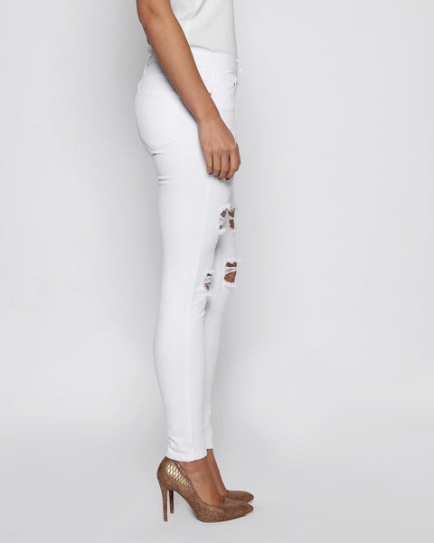 White Ripped Skinny Jeans - jezzelle  - 2