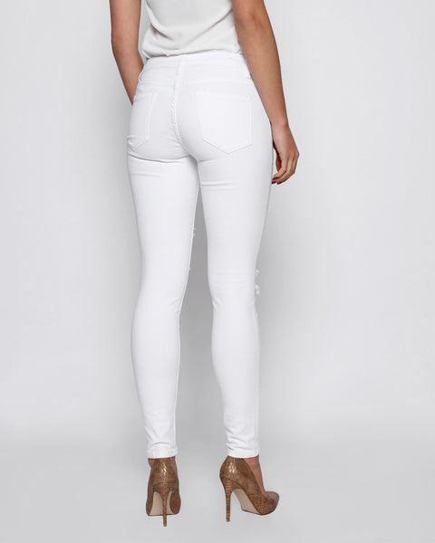 White Ripped Skinny Jeans - jezzelle  - 3