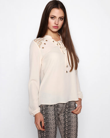 Beige Lace Up Neckline Blouse