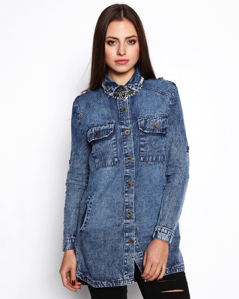 Cotton Denim Tunic Shirt-Jezzelle