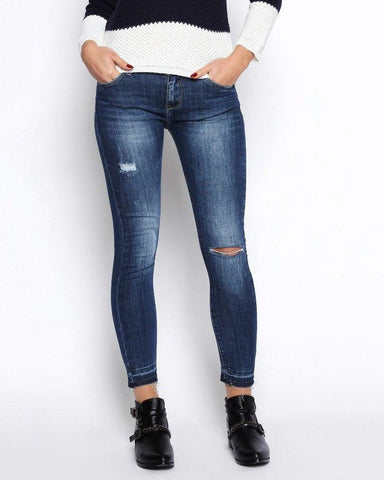 Ripped Cropped Skinny Jeans - Jezzelle
