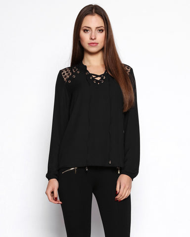 Black Lace up Neckline Blouse - Jezzelle