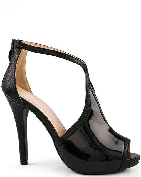 Black Patent Peep Toe Shoes - Jezzelle