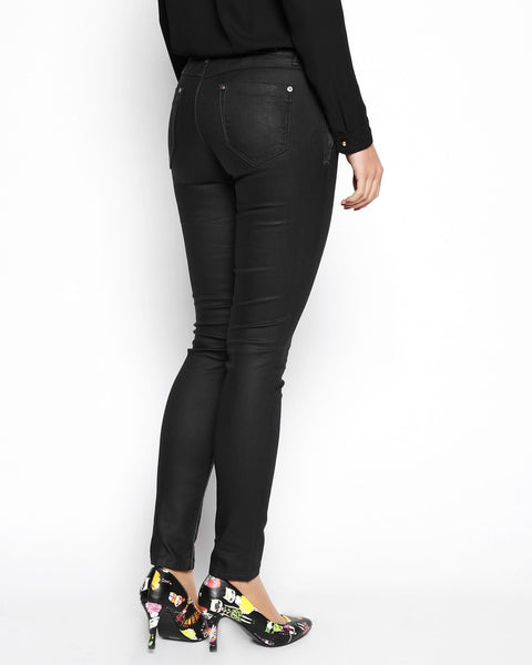 Wax Finish Black Trousers - jezzelle  - 3