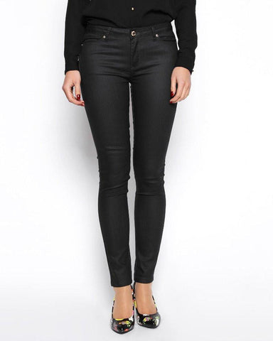 Wax Finish Black Trousers - Jezzelle