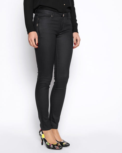 Wax Finish Black Trousers - jezzelle  - 2