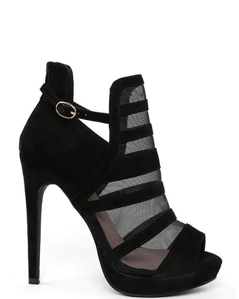 High Heel Mesh Booties - Jezzelle