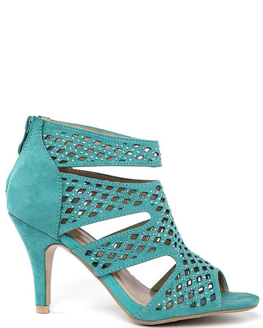 Turquoise Cut-out Booties - Jezzelle