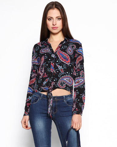 Paisley Print Tie-Up Shirt - Jezzelle