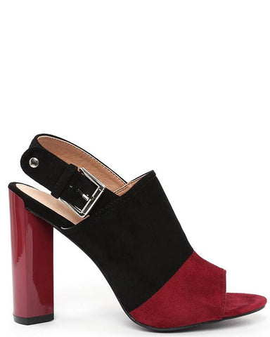 Two-tone Suede Peep-toe Booties-Jezzelle